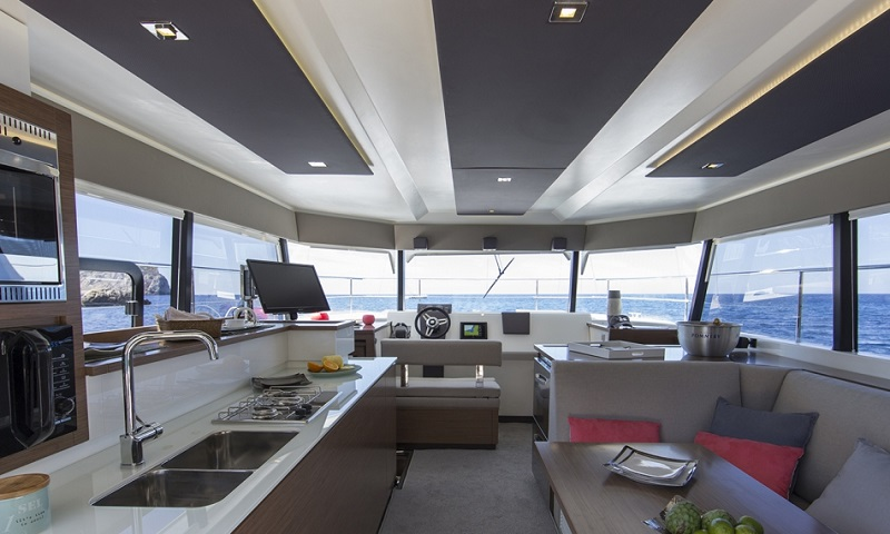 The interior of the yacht with control place