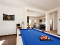 Entertainment room with billiard table, darts and satellite TV