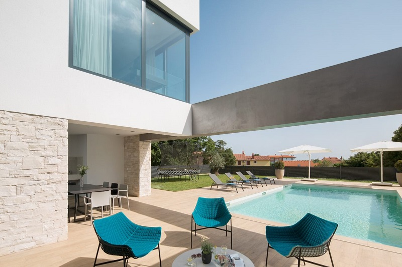 Terrace furniture by the pool